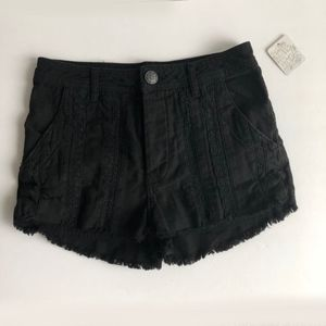 Free People Black Lace Fringe Shorts NWT Sz 2